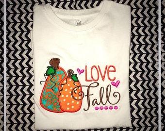 Love Fall Pumpkin Applique Onesie or TShirt