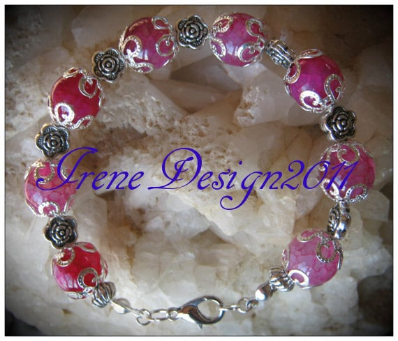 Handmade Silver Bracelet with Pink Dream Dragon Vein Agate & Roses by IreneDesign2011