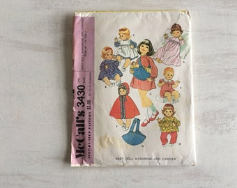Vintage 1972 Baby Doll Wardrobe and Carrier Sewing Pattern