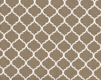 Mini Quatrefoil Fabric White on Khaki 100% Cotton