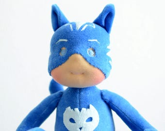 "Catboy Pj mask 12"" waldorf doll - Made to order by Calinette"