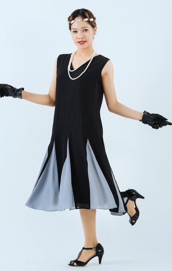 1920s Dresses for Sale Black flapper dress with grey details on skirt black Great Gatsby dress black Charleston dress black 20s flapper dress Miss Fisher dress $130.00 AT vintagedancer.com