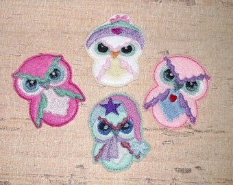 "SET of 4 - Hoot Owl Felties - 2"" Felties  - In The Hoop - DIGITAL Embroidery Design"