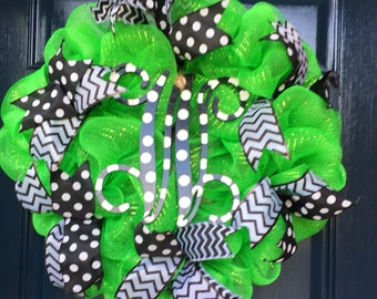 Summer Mesh with Bows Monogram Wreath