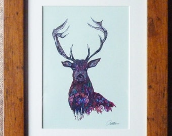 Stag Painting Stag Wall Art Stag Picture Stag Decor Stag Art Stag Original - Lovely characterful leafy image of 'Fall Stag' the perfect gift