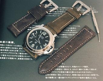 Panerai Watch Strap,Leather Watch Strap,Panerai Vintage Style,Dark Green,Dark Gray,Calf,Wrist,Watch Strap,Minimal Leather Boyfriend Gift