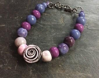 Beady Eyed Bunny rose ceramic beaded bracelet