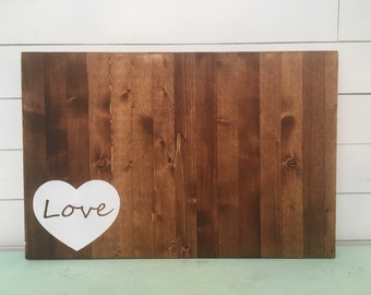 Hand Painted Wood guest book, Wedding Guest Book alternative, unique guest book, Heart with Love sign. Ready to ship guest book.