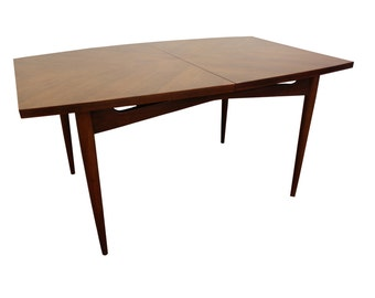 Mid-Century Modern American of Martinsville Parque Top Walnut Surfboard Dining Table on Tapered Legs #11