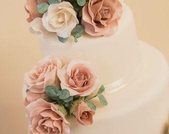 Wedding Cake Topper- sugar flowers Rose and Eucalyptus