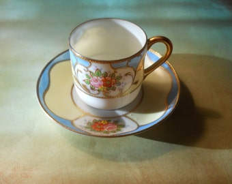 Beautiful Made in Occupied Japan Pink Floral Demitasse Cup and Saucer