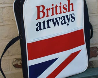British Airways Flight Bag c1970s First Class Passenger Luggage . Airline Collectable. Made In England.