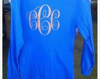 Youth Long Sleeve T-Shirt/Extra Large Vinyl Monogrammed Shirt/Jumbo Glitter Monogram/Birthday/Personalize Long Sleeve/Large Monogram