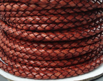 Leather Braided Cord, 8MM German Antique Tan Bolo Leather, Excellent Quality, Very Flexible, All Leather, One Yard