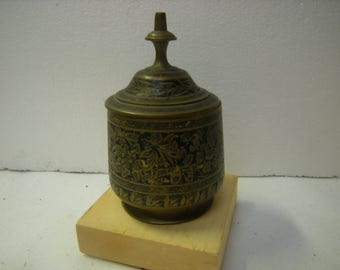 vintage brass jar-lidded box-trinkets box-shelf decor-box collection-storage-organization-rich patina-made in india-
