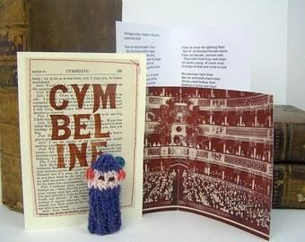 Cymbeline. Shakespeare song. Shakespeare gift box, knitted actor, folded stage, speech.