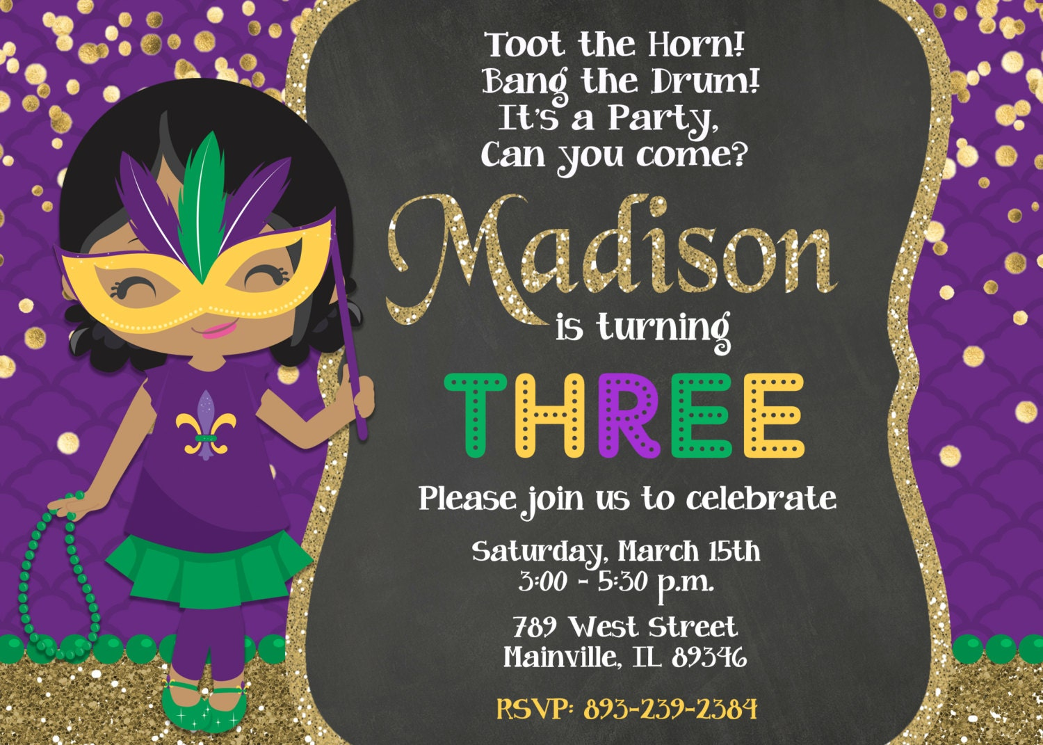 mardi gras invitation  etsy, Party invitations
