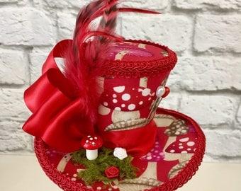 Toadstool Mini Top Hat, Alice in Wonderland Mini Top Hat, Mad Hatter Mini Top Hat, Tea Party Mini Top Hat