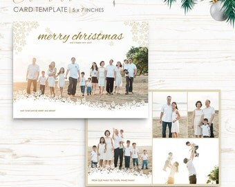 Christmas Card Template - Holiday Card Template - Photo Card Template - Instant Download - CRC013