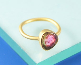 Tourmaline Ring, Birthday Gift, Birthstone Ring, Gold Ring, Watermelon Tourmaline, Unique Ring, Semi-Precious Stones, Embers Jewelry,Vermeil