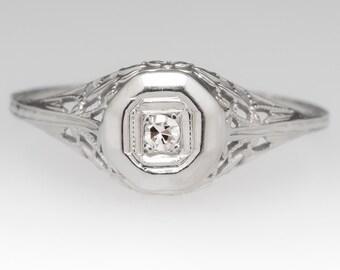 Vintage Engagement Ring - 1940s Petite Diamond Ring - Retro Floral Filigree - 18K White Gold Engagement Ring - WM11924