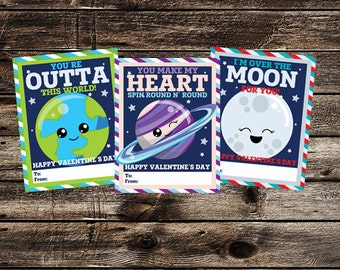 Solar System - Space Valentine Cards - Custom Valentine's Day Digital Printable - Earth, Moon, Saturn, World, Heart