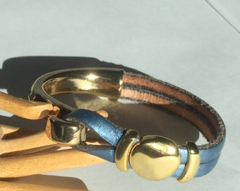 Metallic Blue Colored Flat Leather Bracelet with Gold Zamak Sliders and Hook Clasp - Qty 1