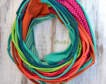 Pink dots orange turquoise - infinity pachwork scarf with tshirt yarn  upcycled scarf Bohemian style boho fashion eco style recycled scarves