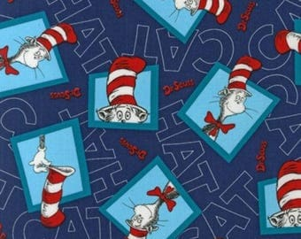 Cat in the Hat Patchwork, Navy, Novelty, Dr. Seuss, Robert Kaufman, Novelty (By 1/2 yard)