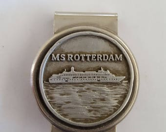 Vintage MS Rotterdam money clip, Holland American Line in used condition a little dirty, could use a cleaning.