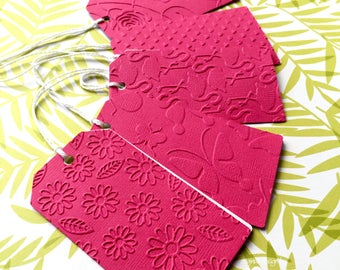 Bright pink gift tags. Embossed - Flamingo, Rose, Hearts, Butterfly, Daisy, Dots, Baby Feet, Chevron. Baby gifts, baby shower, birthdays.