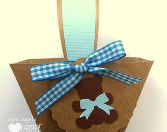 Blue Teddy Bears Picnic Mini Baskets. Birthday party or baby shower favors, gift box, thank you gifts. Party favor box, table decorations.