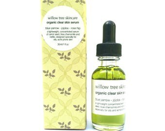 Organic Clear Skin Serum with Jojoba, Carrot Seed, Nettle and Yarrow, Oily/Problematic Skin