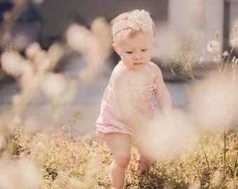 Blush Pink & White Rose Headband
