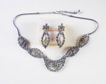 Mid-Century sterling silver rhinestone demi parure of choker and non-pierced screw back earrings