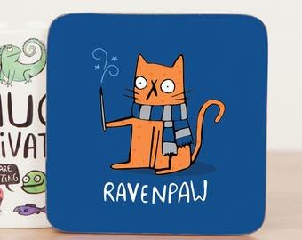 Ravenpaw - Harry Potter Coaster Gift - Ravenclaw fan art  - Pun Coaster - Gift for him - Gift for her - Teen Gift - cat Mat - Katie Abey