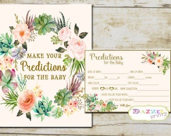Boho Baby Shower Predictions for the Baby and Predictions Sign, Floral Printable Predictable Sign and Cards for Baby INSTANT - 7265