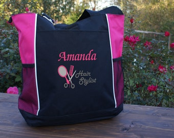 Personalized Hair Stylist tote, bag, hair dresser,cosmetology, pink, blue,green,red,custom name, marketing tool,work tote, appreciation gift