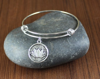 Rustic Romantic ~ Lotus Flower ~ adjustable Stainless Steel bangle bracelet