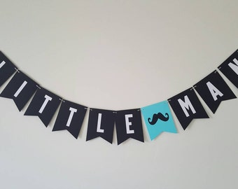 LITTLE MAN mustache baby shower banner black, white and blue