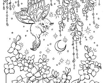 Coloring Page Download,Butterfly Kitty,Adult or Kids Coloring Page,Garden Illustration,Cat Illustration,Butterfly,Coloring