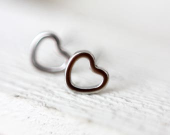 Earrings heart hearts silver stainless steel