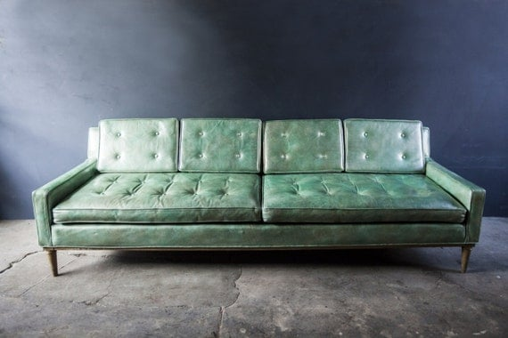 Vintage Mint Green Leather Sofa