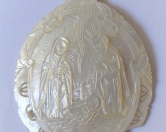 Rare Old Mother of Pearl Religious Medal The Nativity