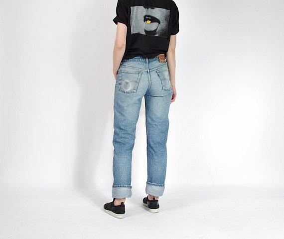 SALE - 80s Levi's 501 Ridigo Sun Faded Denim Boyfriend Jeans / Size W33 L34