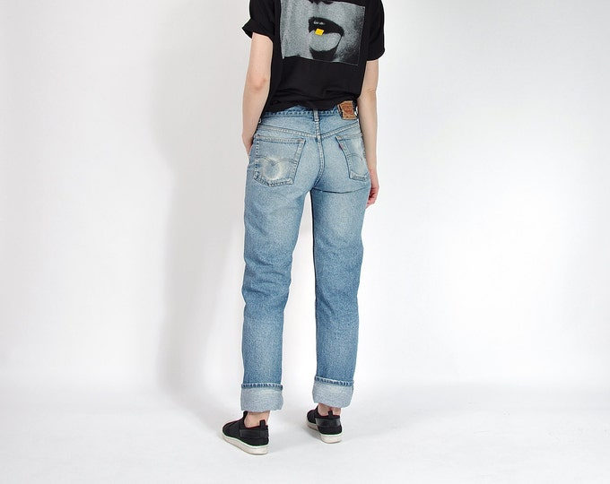 Featured listing image: 80s Levi's 501 Ridigo Sun Faded Denim Boyfriend Jeans / Size W33 L34