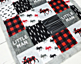 Little Man blanket, Moose Minky blanket, Lumberjack blanket, red buffalo plaid blanket, baby shower gift, woodland boy personalized blanket