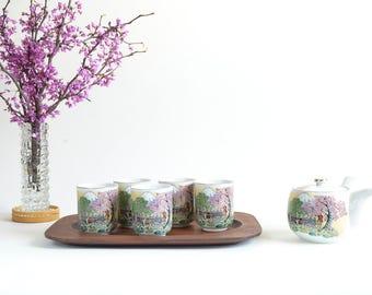 Vintage Japanese Tea Set Teapot 5 Cups Mt Fuji Japanese Cherry Trees Royal Army Side Pour Tea Pot Japanese Porcelain Unusual Tea Set