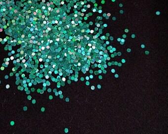 solvent-resistant glitter shapes- teal hologram dots
