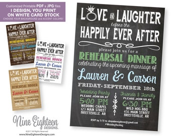 Rehearsal Dinner INVITATION. Love & Laughter Before Happily Ever After. Custom PRINTABLE PDF invitation. Choose Colors.